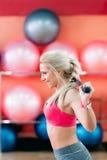 Giovane bionda sportiva che si esercita con le teste di legno Fotografie Stock