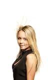 Giovane biondo con il flusso continuo dei capelli Fotografia Stock