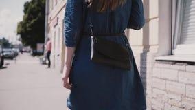 Giovane blogger femminile di modo di vista posteriore in un vestito blu con capelli lunghi e la borsa alla moda che camminano lun video d archivio