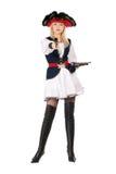 Giovane blonde attraente con le pistole Immagini Stock