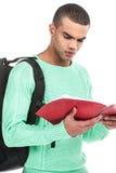 Giovane borsa di trasporto seria felice Fotografie Stock