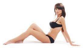 Giovane brunette attraente isolato sopra bianco Fotografia Stock Libera da Diritti