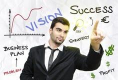 Giovane business plan dell'uomo d'affari illustrazione di stock