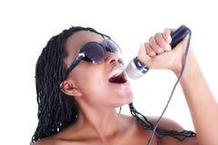 Giovane cantante afro-american Fotografie Stock Libere da Diritti