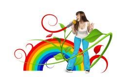 Giovane cantante felice Fotografia Stock