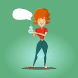 Giovane casalinga felice Advertising Detergent servizio di pulizia illustrazione di stock