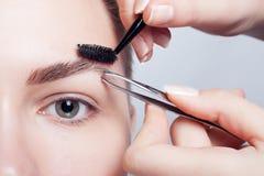 Giovane castana con trucco della donna dei capelli di scarsità cosmetico della ragazza Immagine Stock Libera da Diritti