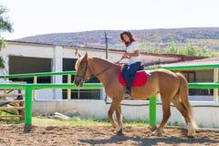 Giovane castana su un cavallo Brown-biondo in Fotografia Stock