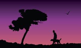 Giovane che cammina il suo cane, illustrazione di vettore Fotografie Stock Libere da Diritti