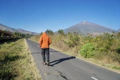 Giovane che cammina verso una montagna immagine stock libera da diritti
