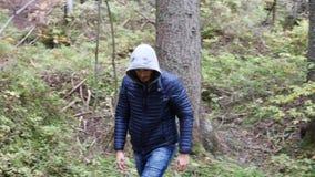 Giovane che fa un'escursione nel paesaggio verde fertile della montagna video d archivio
