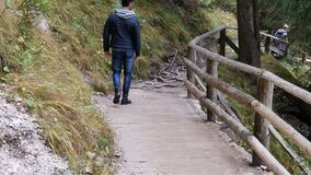 Giovane che fa un'escursione nel paesaggio verde fertile della montagna stock footage