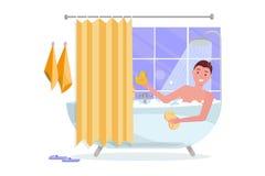 Giovane che prende vasca con la schiuma della bolla Interno della casa del bagno con il bagno in mattonelle con la tenda di docci royalty illustrazione gratis