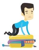 Giovane che prova a chiudere valigia royalty illustrazione gratis