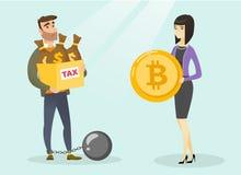 Giovane che sceglie pagamento esente da imposte dai bitcoins Fotografia Stock