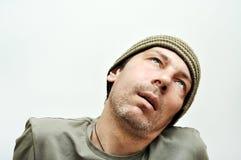 Giovane che soffre dal mal di denti, dolore di denti, fronte gonfiato Fotografie Stock