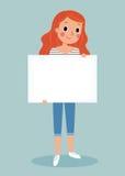 Giovane che tiene segno in bianco illustrazione di stock