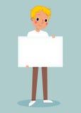 Giovane che tiene segno in bianco royalty illustrazione gratis