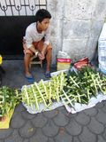 Giovane che vende gli incroci della palma immagini stock libere da diritti