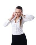 Giovane colloquio faticoso della donna di affari sul telefono isolato immagini stock libere da diritti