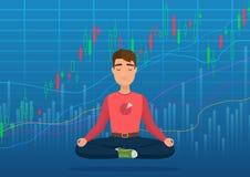Giovane commerciante felice dell'uomo che medita nell'ambito del concetto del grafico di scambio del mercato azionario cripto o C illustrazione vettoriale