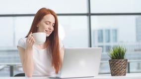Giovane computer portatile funzionante sorridente della donna di affari in ufficio stock footage