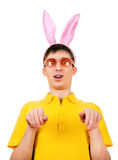 Giovane con Bunny Ears Fotografie Stock