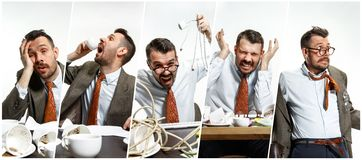 Giovane con i problemi degli impiegati di concetto tipici immagine stock libera da diritti