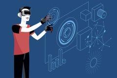 Giovane con i vetri di realtà virtuale Immagini Stock
