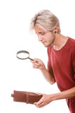 Giovane con il portafoglio vuoto Immagine Stock Libera da Diritti