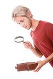 Giovane con il portafoglio vuoto Immagini Stock Libere da Diritti