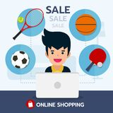 Giovane con il prodotto di vendita dell'attrezzatura di sport, acquisto online con il calcio, ping-pong, pallacanestro, icona di  Fotografia Stock Libera da Diritti