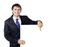 Giovane con il segno in bianco Fotografia Stock