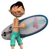 Giovane con il surf Fotografia Stock Libera da Diritti