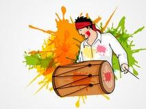 Giovane con il tamburo per la celebrazione felice di festival di Holi illustrazione di stock