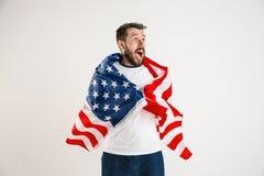 Giovane con la bandiera degli Stati Uniti d'America immagini stock