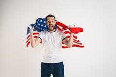 Giovane con la bandiera degli Stati Uniti d'America fotografia stock