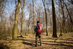 Giovane con lo zaino che fa un'escursione nella natura della foresta e nel concetto di esercizio fisico fotografia stock