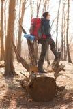 Giovane con lo zaino che fa un'escursione nella natura della foresta e nel concetto di esercizio fisico fotografie stock