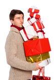 Giovane con molti regali di Natale Fotografia Stock Libera da Diritti