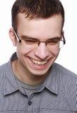 Giovane con sorridere di vetro Fotografia Stock Libera da Diritti