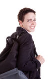 Giovane con un sacchetto di banco Immagine Stock Libera da Diritti