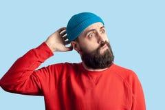 Giovane concetto barbuto emozionale di espressione facciale e dell'uomo fotografie stock