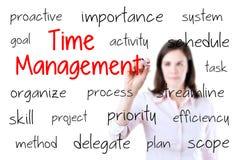 Giovane concetto della gestione di tempo di scrittura della donna di affari Isolato su priorità bassa bianca Fotografia Stock Libera da Diritti