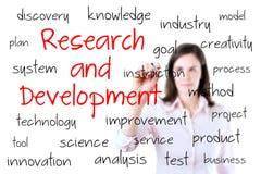 Giovane concetto di ricerca e sviluppo di scrittura della donna di affari. Isolato su bianco. Fotografia Stock