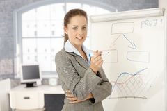 Giovane condizione femminile sopra la presentazione di whiteboard Immagine Stock Libera da Diritti