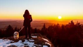 Giovane contro il Sun di inverno Fotografia Stock Libera da Diritti