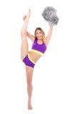 Giovane cordicella flessibile del danzatore della donna della ragazza pon pon Fotografia Stock Libera da Diritti