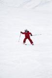 Giovane corsa con gli sci del ragazzo Fotografia Stock
