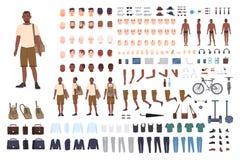 Giovane costruttore del carattere del tipo Insieme della creazione del maschio adulto Posizioni differenti, acconciatura, fronte, illustrazione vettoriale